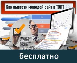 Бесплатно - запись мастер-класса Сергея Кокшарова - Как вывести молодой сайт в ТОП